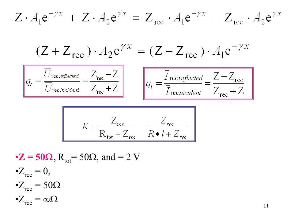 11 Z = 50, R tot = 50, and = 2 V Z rec = 0, Z rec = 50 Z rec =