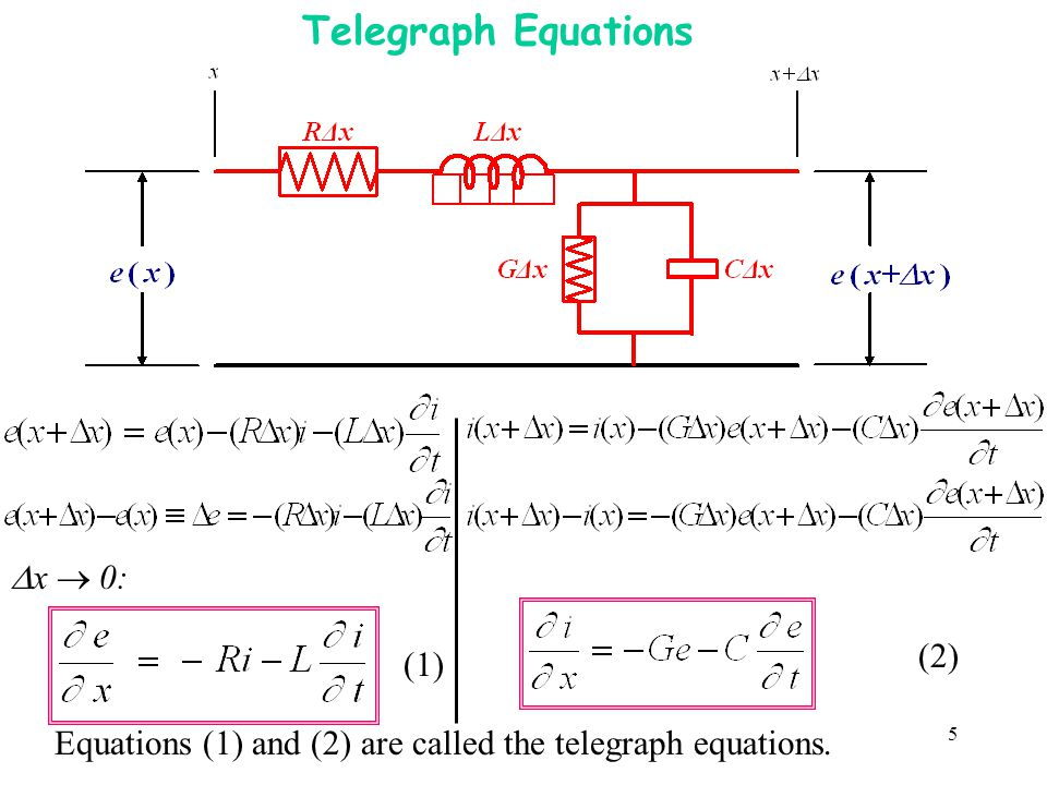 5 Telegraph Equations x 0: (1) (2) Equations (1) and (2) are called the telegraph equations.
