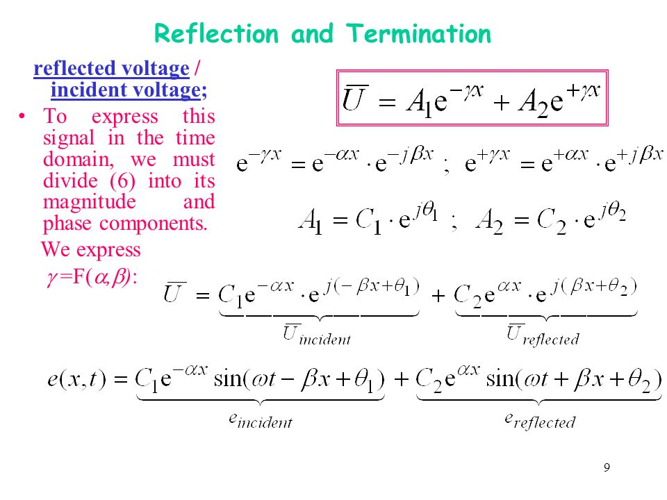 9 Reflection and Termination reflected voltage / incident voltage; To express this signal in the time domain, we must divide (6) into its magnitude an