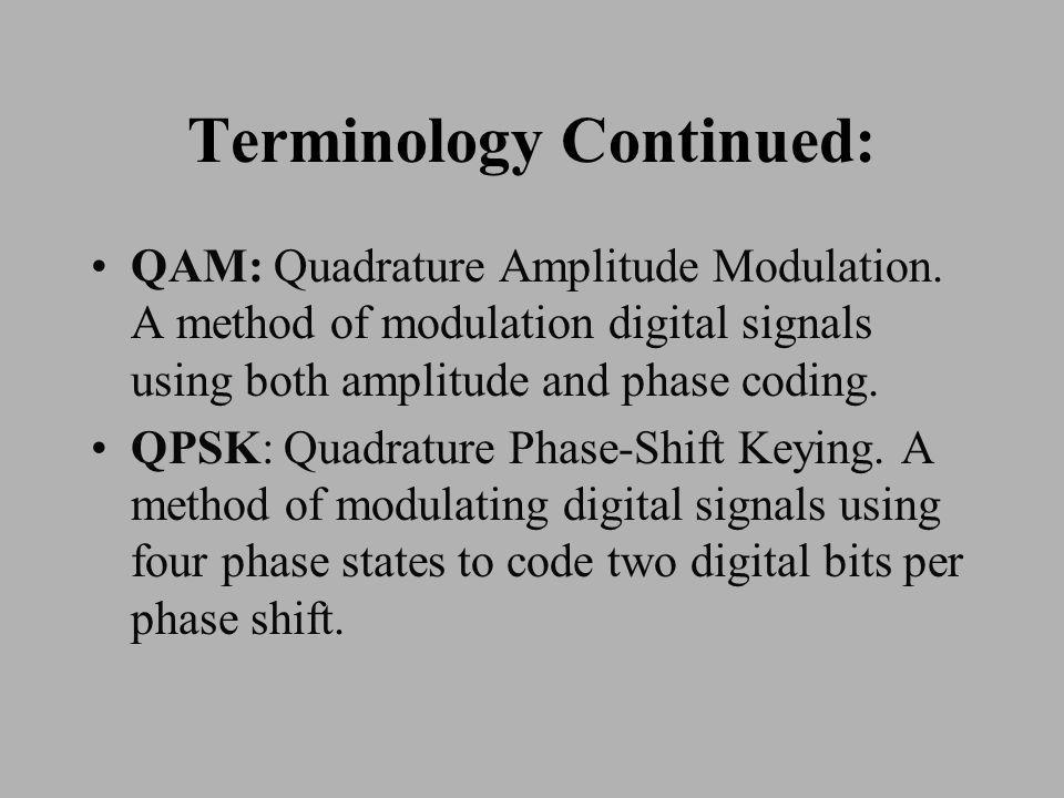 Terminology Continued: QAM: Quadrature Amplitude Modulation.