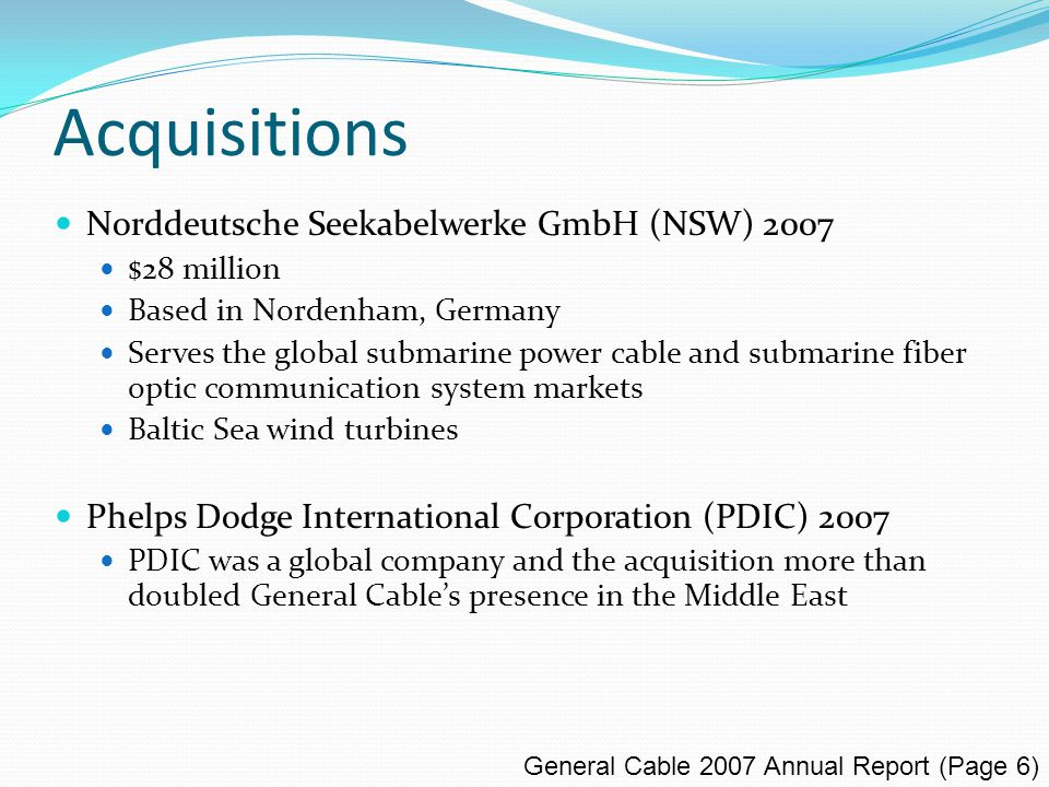 Competitors Nexans SA (Paris Stock Exchange) Manufactures and sells cables and cabling systems for the energy and telecom infrastructure, industry, building, and local area network markets.