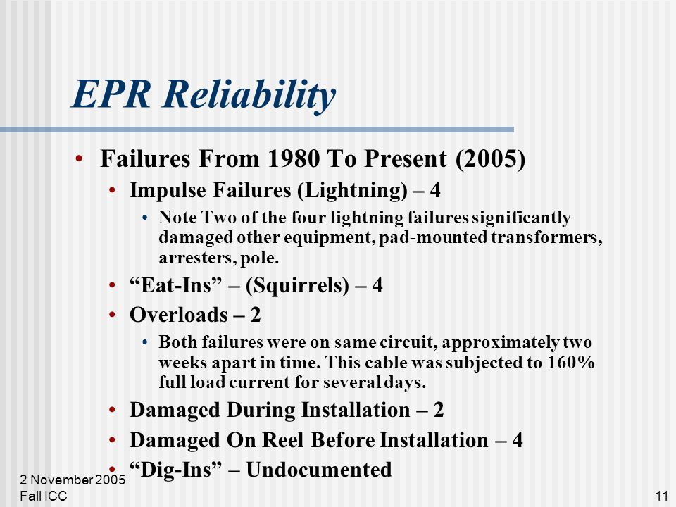 2 November 2005 Fall ICC11 EPR Reliability Failures From 1980 To Present (2005) Impulse Failures (Lightning) – 4 Note Two of the four lightning failur