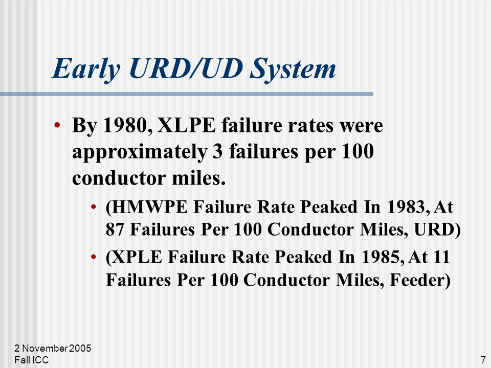 2 November 2005 Fall ICC7 Early URD/UD System By 1980, XLPE failure rates were approximately 3 failures per 100 conductor miles. (HMWPE Failure Rate P