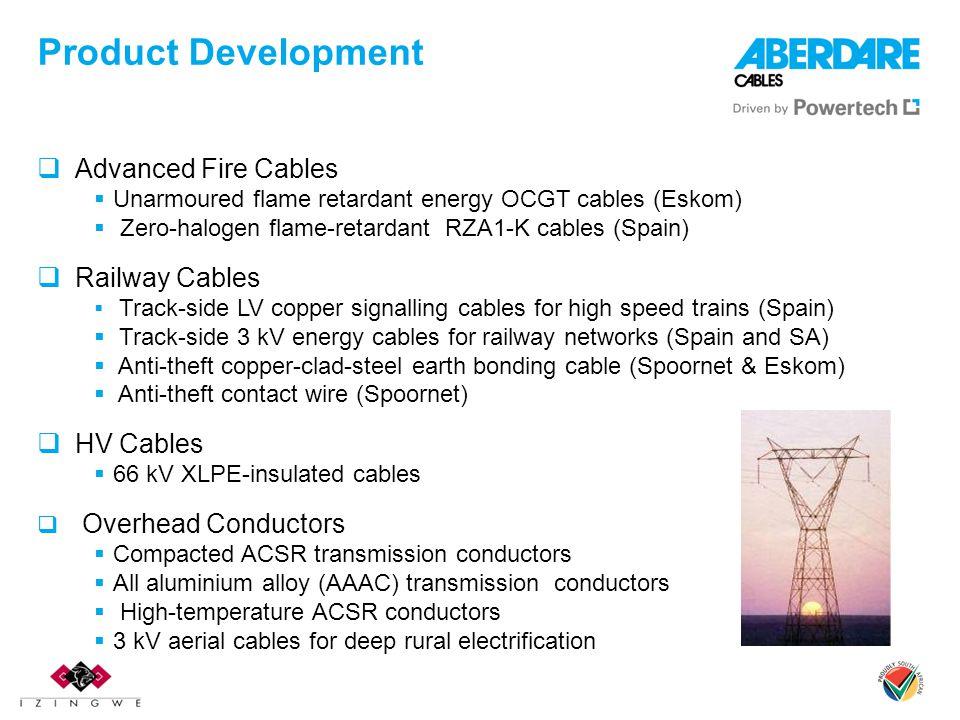 Product Development Advanced Fire Cables Unarmoured flame retardant energy OCGT cables (Eskom) Zero-halogen flame-retardant RZA1-K cables (Spain) Rail