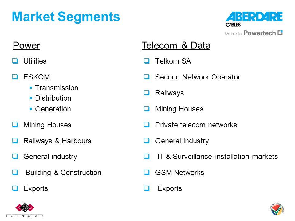 Market Segments Utilities ESKOM Transmission Distribution Generation Mining Houses Railways & Harbours General industry Building & Construction Export