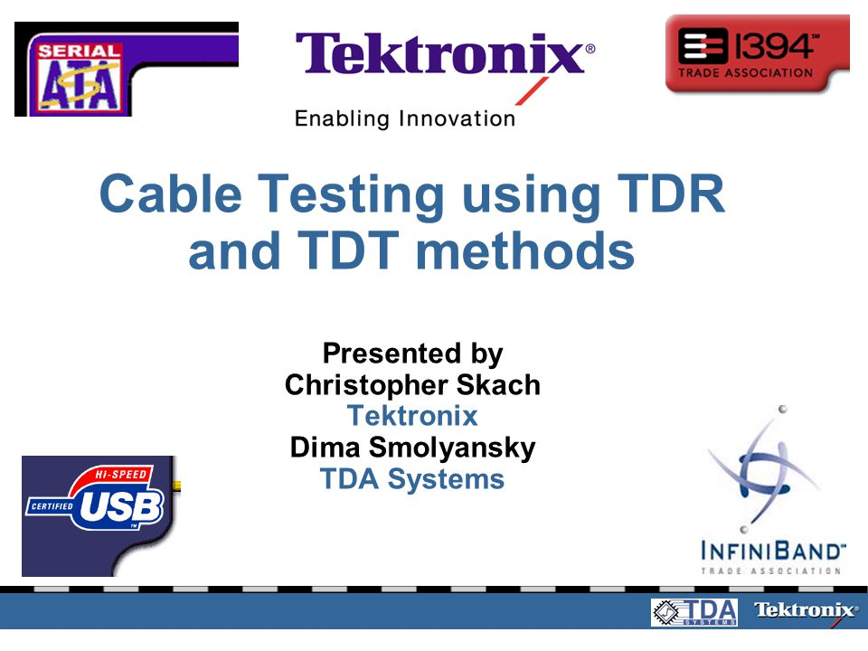 Tektronix Net Seminar 2003Slide 2 Agenda Cable specifications and standards Introduction to TDR and TDT measurements Measurement Techniques Using TDA IConnect® software for frequency domain measurements Conclusion Questions and Answers