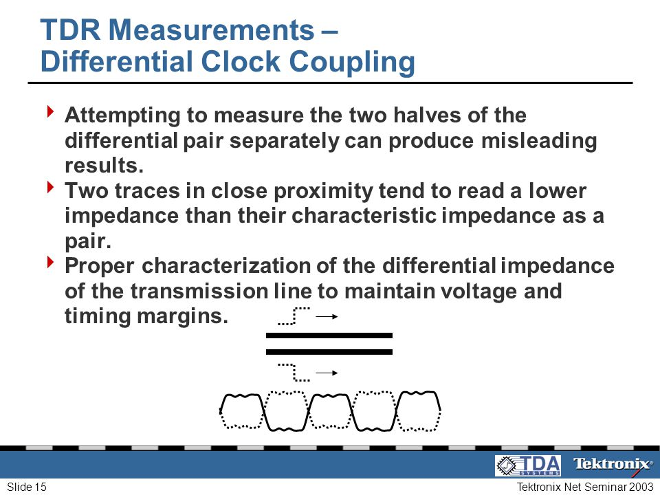 Tektronix Net Seminar 2003Slide 15 TDR Measurements – Differential Clock Coupling Attempting to measure the two halves of the differential pair separa