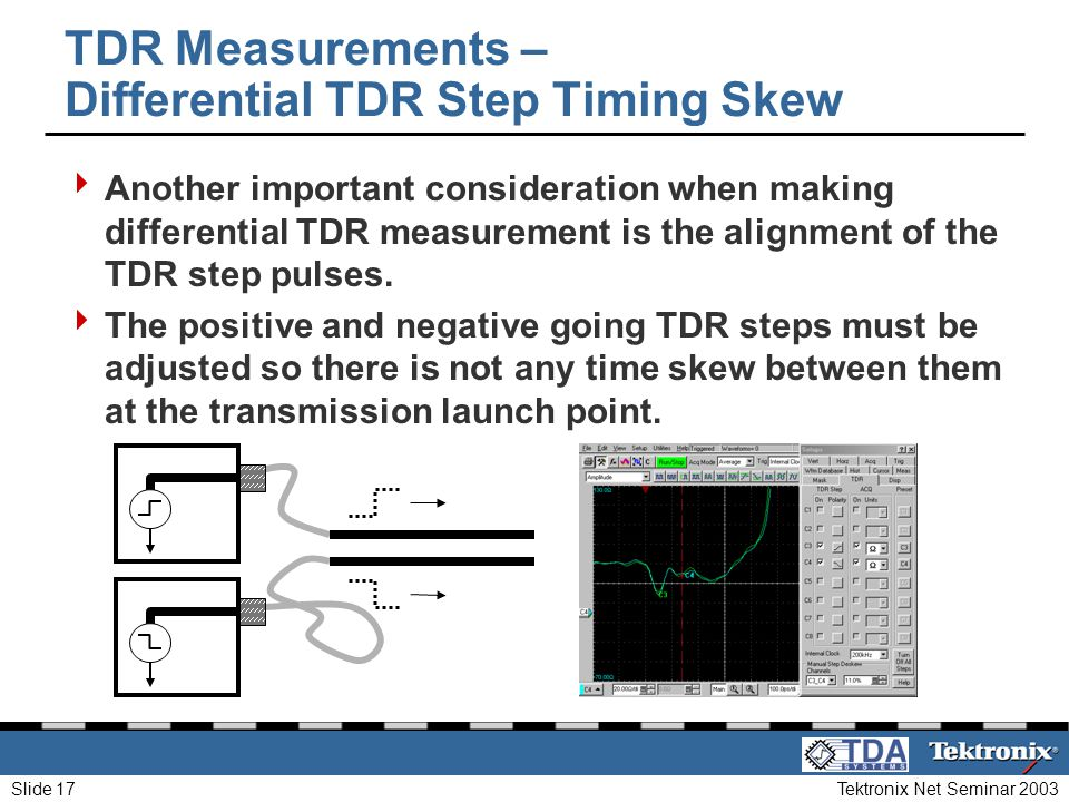 Tektronix Net Seminar 2003Slide 17 TDR Measurements – Differential TDR Step Timing Skew Another important consideration when making differential TDR m