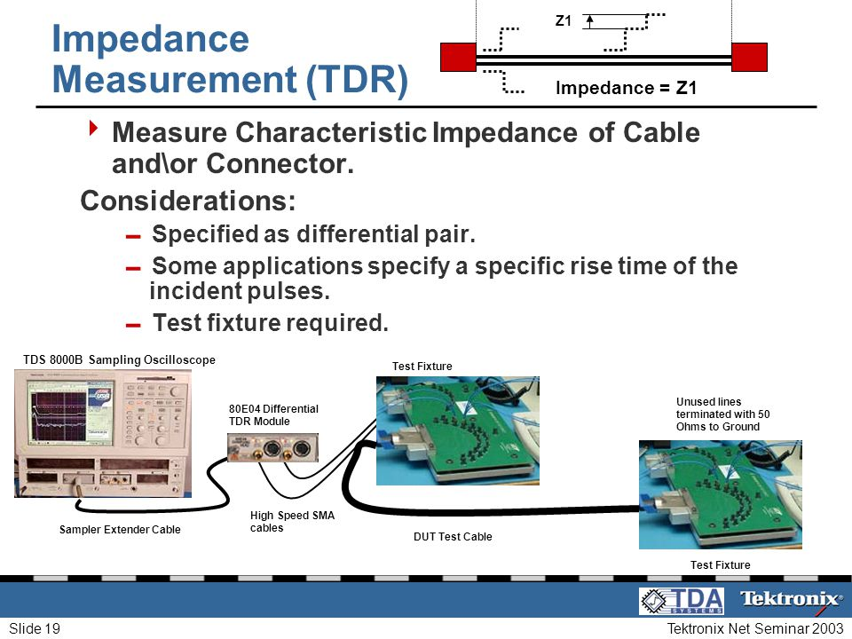 Tektronix Net Seminar 2003Slide 19 Impedance Measurement (TDR) Measure Characteristic Impedance of Cable and\or Connector. Considerations: Specified a