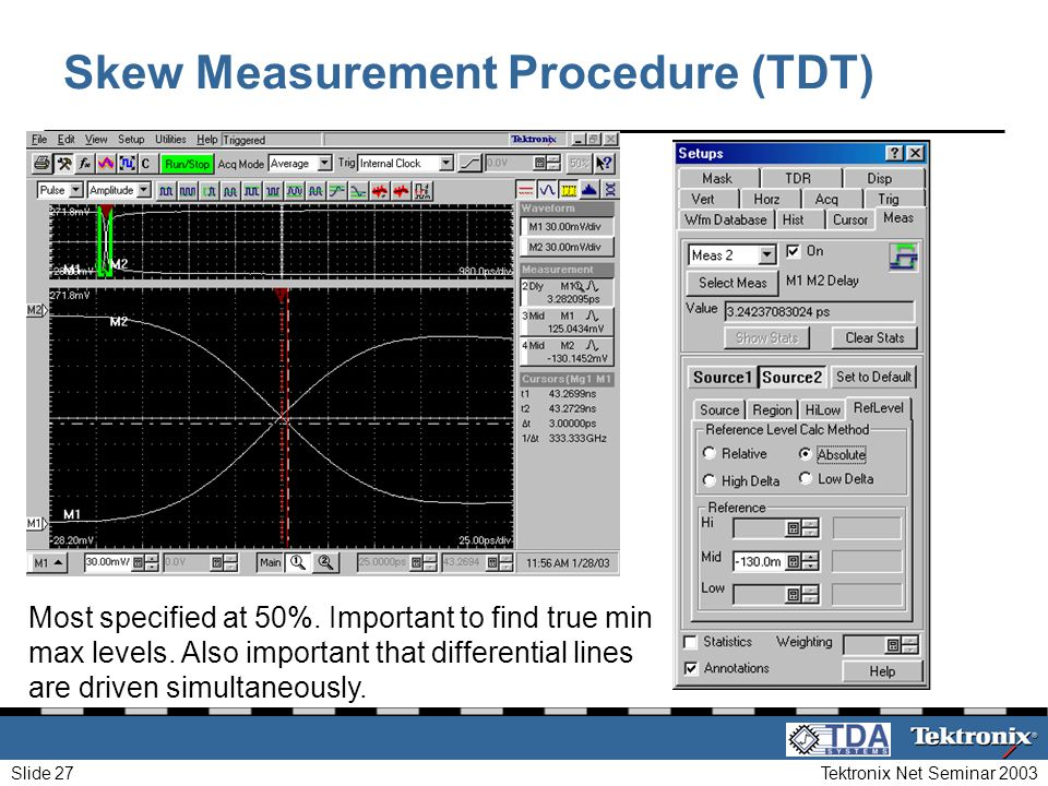 Tektronix Net Seminar 2003Slide 27 Skew Measurement Procedure (TDT) Most specified at 50%. Important to find true min max levels. Also important that