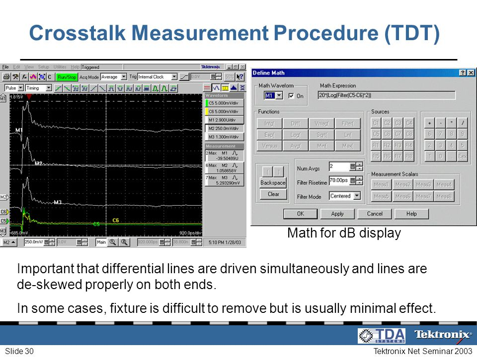 Tektronix Net Seminar 2003Slide 30 Crosstalk Measurement Procedure (TDT) Important that differential lines are driven simultaneously and lines are de-