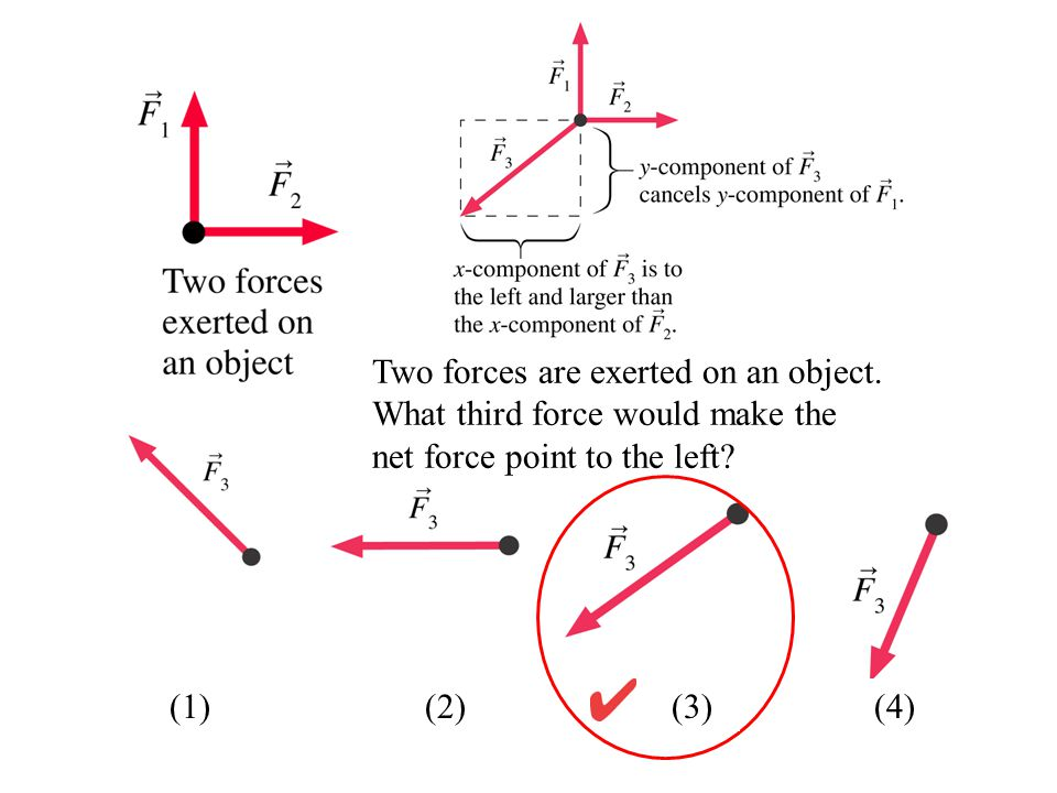 Two forces are exerted on an object. What third force would make the net force point to the left? (1) (2) (3)(4)