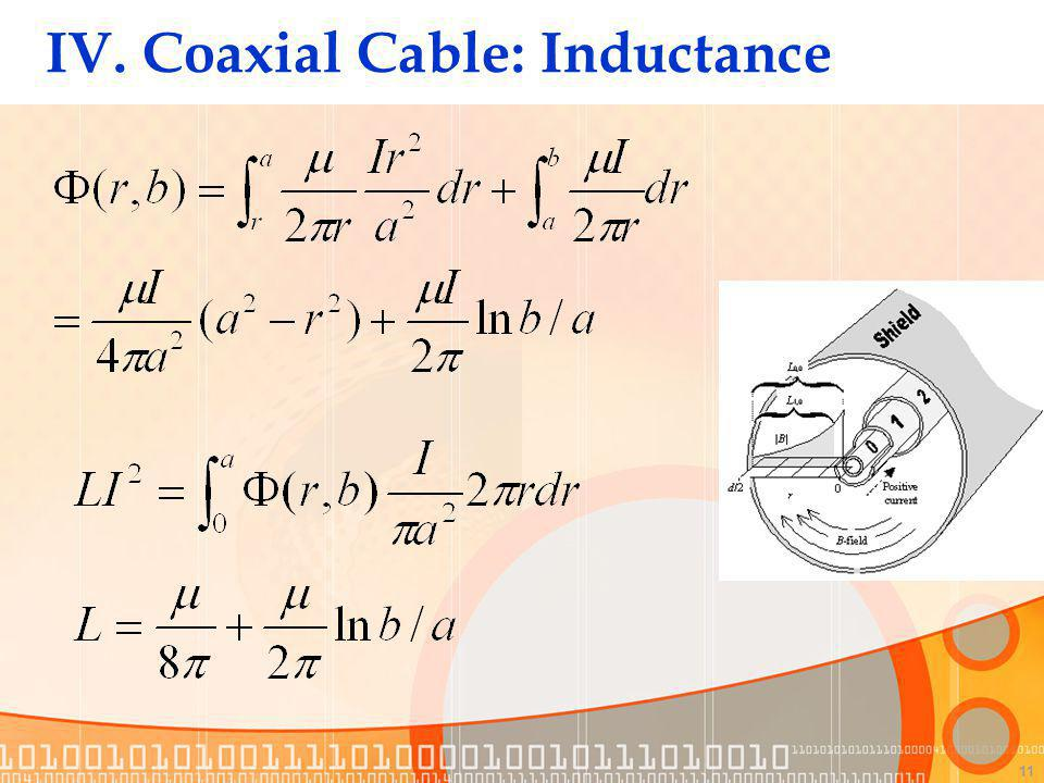 11 IV. Coaxial Cable: Inductance