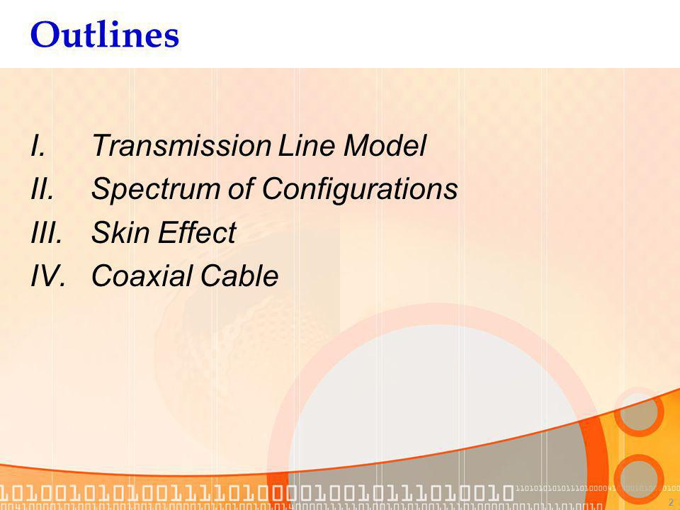 2 Outlines I.Transmission Line Model II.Spectrum of Configurations III.Skin Effect IV.Coaxial Cable