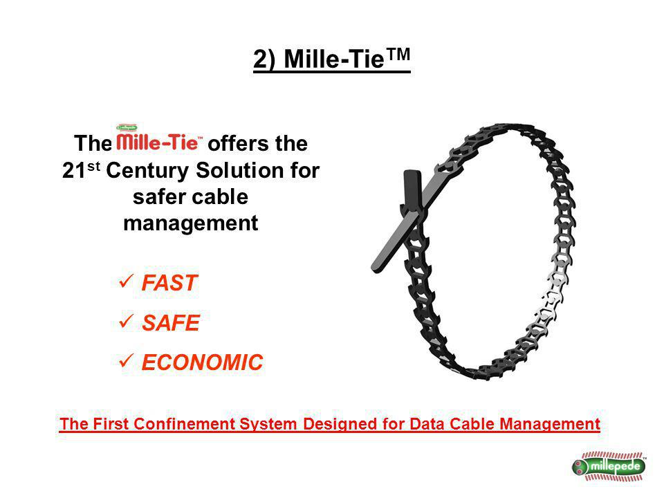 2) Mille-Tie TM The First Confinement System Designed for Data Cable Management FAST SAFE ECONOMIC The Mile-Tie offers the 21 st Century Solution for