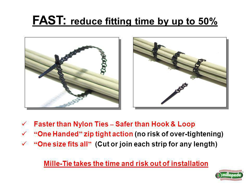 Faster than Nylon Ties – Safer than Hook & Loop One Handed zip tight action (no risk of over-tightening) One size fits all (Cut or join each strip for