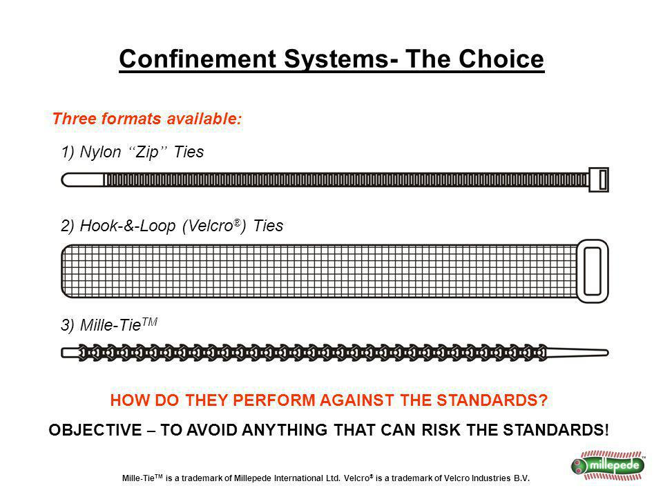 Confinement Systems- The Choice Three formats available: 1) Nylon Zip Ties 2) Hook-&-Loop (Velcro ® ) Ties 3) Mille-Tie TM HOW DO THEY PERFORM AGAINST THE STANDARDS.