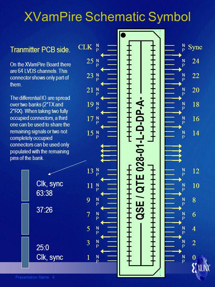Presentation Name 6 XVamPire Schematic Symbol QSE / QTE 028-01-L-D-DP-A- CLKSync 23 21 19 17 15 25 11 13 10 12 22 20 18 16 14 24 N P N P N P N P N P N