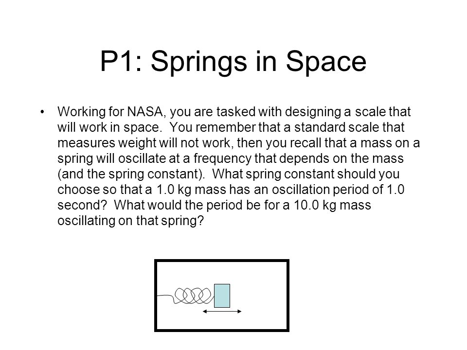 Springs in Space-2 Recall that the period of a mass on a spring is: Therefore, the spring constant that will give a particular period is: For a 10 kg mass, the period will be