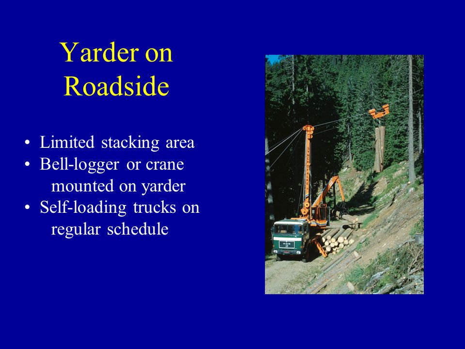 Yarder on Roadside Limited stacking area Bell-logger or crane mounted on yarder Self-loading trucks on regular schedule