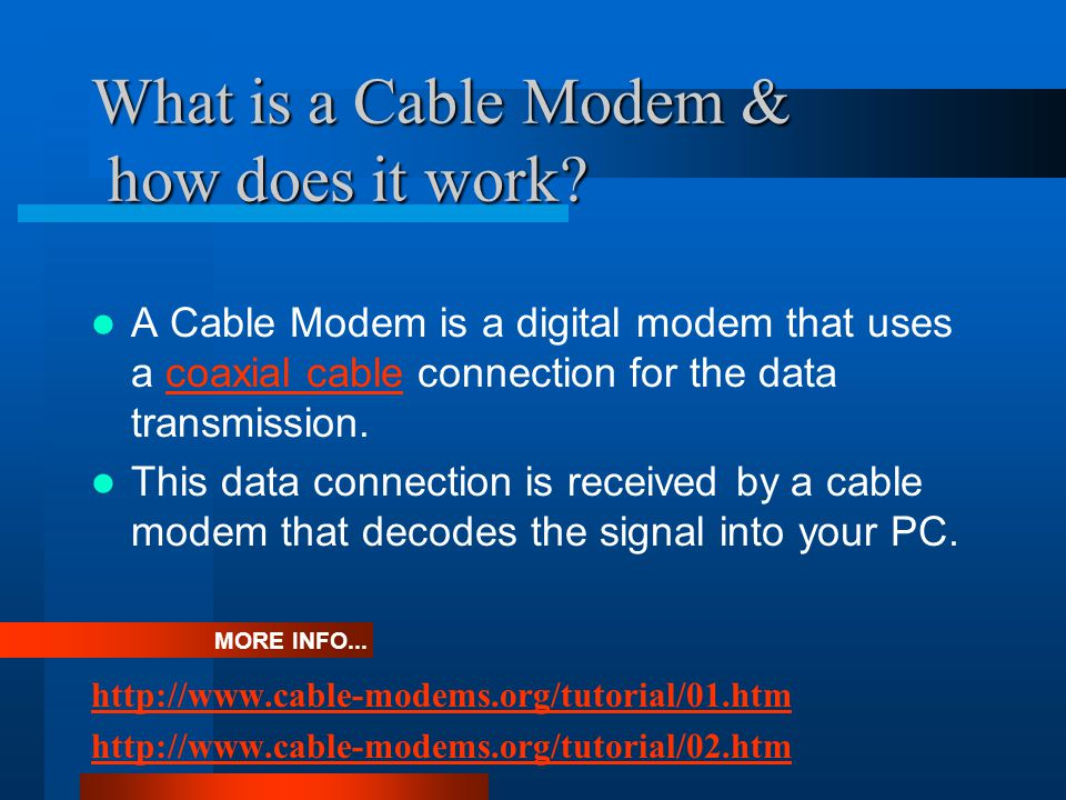 What is a Cable Modem & how does it work.