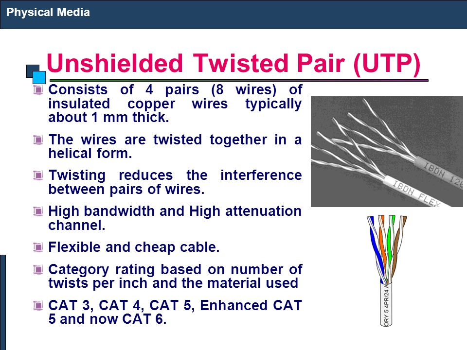 Unshielded Twisted Pair (UTP) Consists of 4 pairs (8 wires) of insulated copper wires typically about 1 mm thick. The wires are twisted together in a