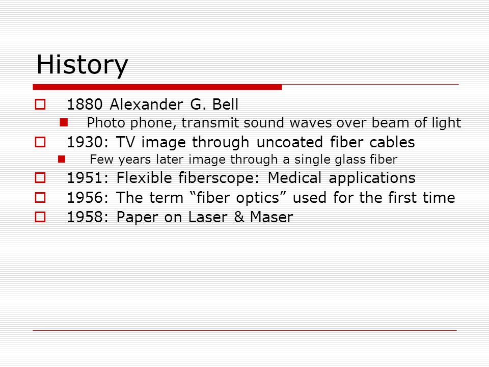 History 1880 Alexander G. Bell Photo phone, transmit sound waves over beam of light 1930: TV image through uncoated fiber cables Few years later image