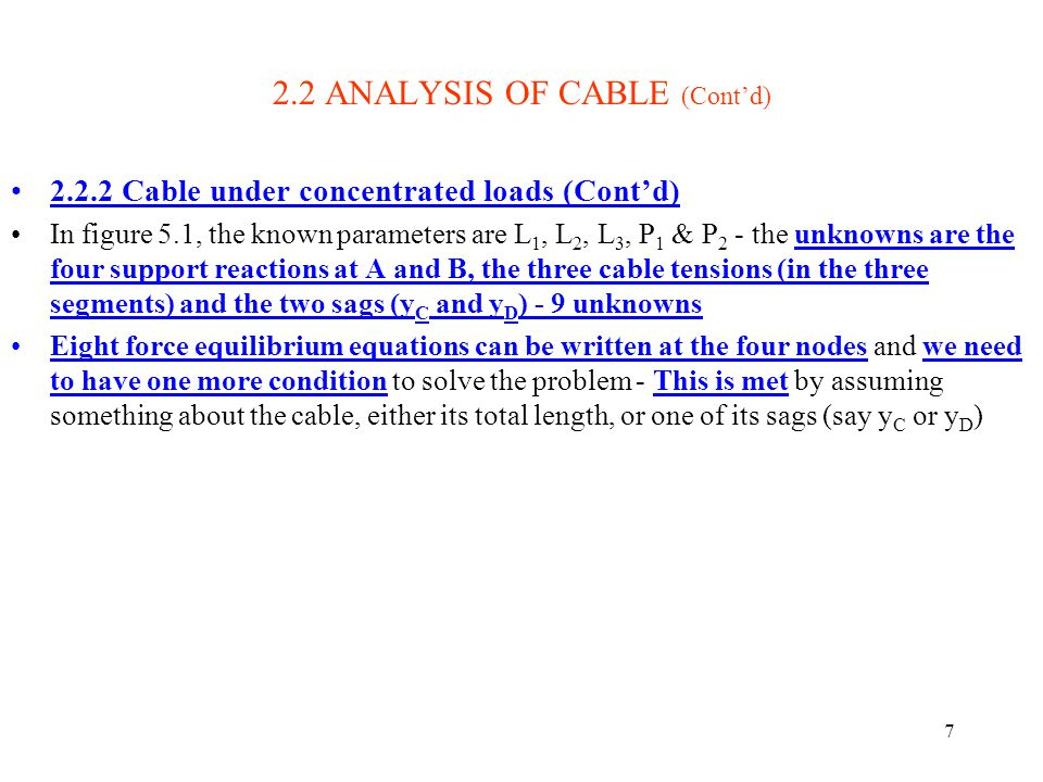 7 2.2 ANALYSIS OF CABLE (Contd) 2.2.2 Cable under concentrated loads (Contd) In figure 5.1, the known parameters are L 1, L 2, L 3, P 1 & P 2 - the un