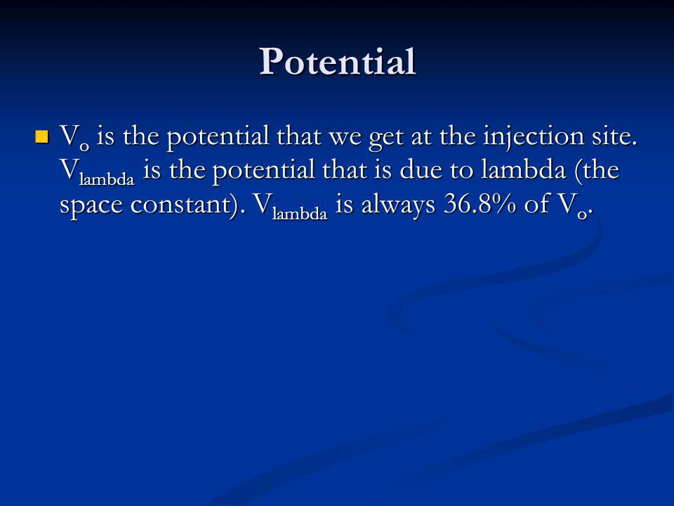 Potential V o is the potential that we get at the injection site.
