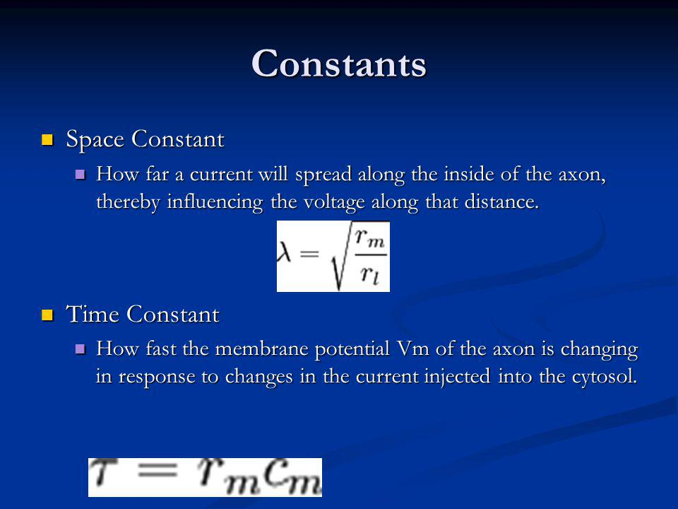 Constants Space Constant Space Constant How far a current will spread along the inside of the axon, thereby influencing the voltage along that distance.