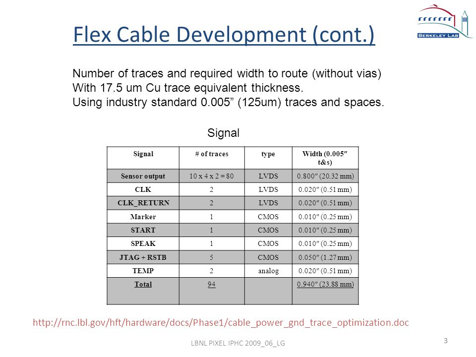3 Flex Cable Development (cont.) http://rnc.lbl.gov/hft/hardware/docs/Phase1/cable_power_gnd_trace_optimization.doc Signal# of tracestype Width (0.005