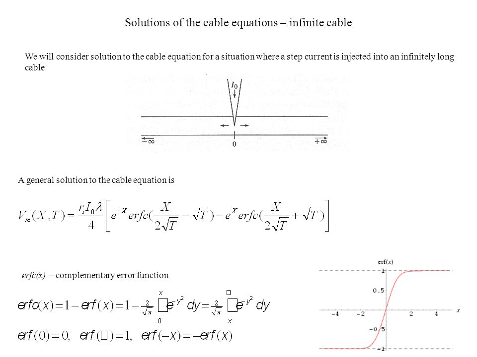 Solutions of the cable equations – infinite cable We will consider solution to the cable equation for a situation where a step current is injected int