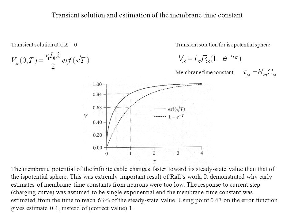 Transient solution and estimation of the membrane time constant Transient solution for isopotential sphere Membrane time constant Transient solution a