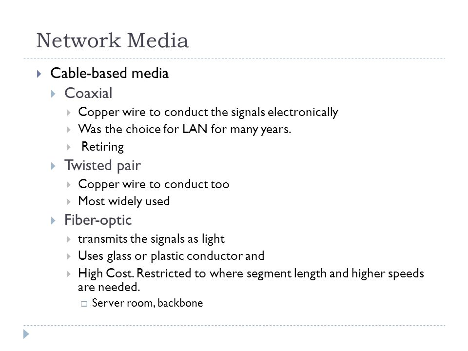 Network Media Cable-based media Coaxial Copper wire to conduct the signals electronically Was the choice for LAN for many years. Retiring Twisted pair