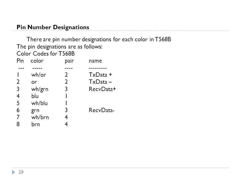 29 Pin Number Designations There are pin number designations for each color in T568B The pin designations are as follows: Color Codes for T568B Pin co