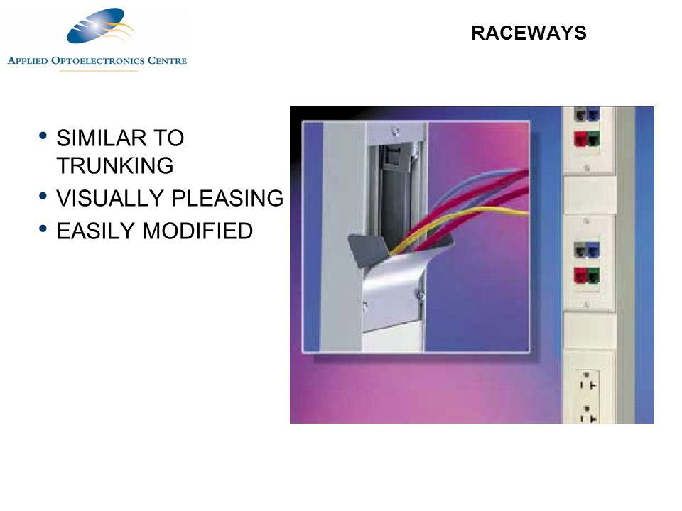 RACEWAYS SIMILAR TO TRUNKING VISUALLY PLEASING EASILY MODIFIED