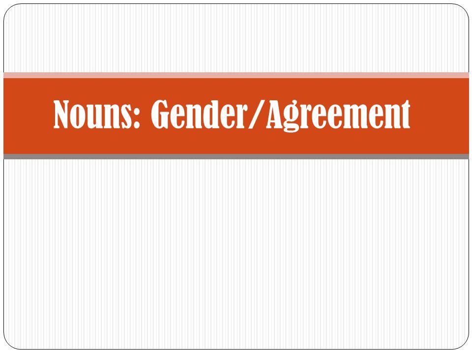 Nouns: Gender/Agreement