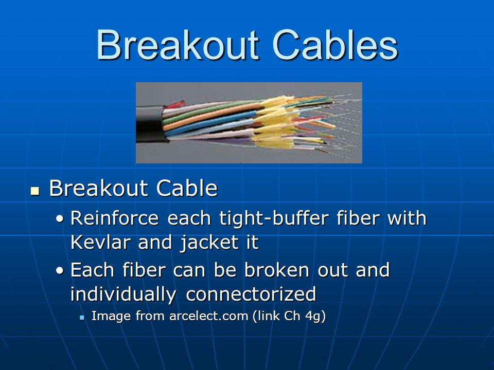 Breakout Cables Breakout Cable Breakout Cable Reinforce each tight-buffer fiber with Kevlar and jacket itReinforce each tight-buffer fiber with Kevlar and jacket it Each fiber can be broken out and individually connectorizedEach fiber can be broken out and individually connectorized Image from arcelect.com (link Ch 4g) Image from arcelect.com (link Ch 4g)