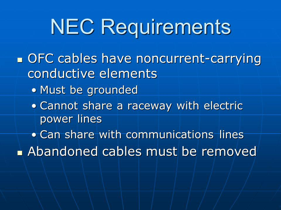 NEC Requirements OFC cables have noncurrent-carrying conductive elements OFC cables have noncurrent-carrying conductive elements Must be groundedMust be grounded Cannot share a raceway with electric power linesCannot share a raceway with electric power lines Can share with communications linesCan share with communications lines Abandoned cables must be removed Abandoned cables must be removed