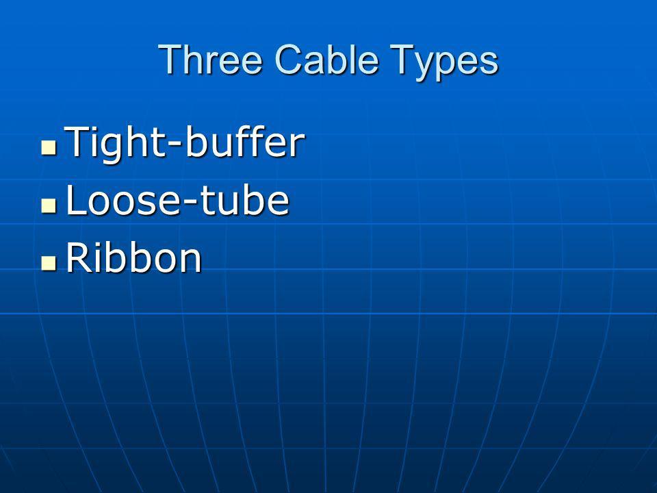 Three Cable Types Tight-buffer Tight-buffer Loose-tube Loose-tube Ribbon Ribbon