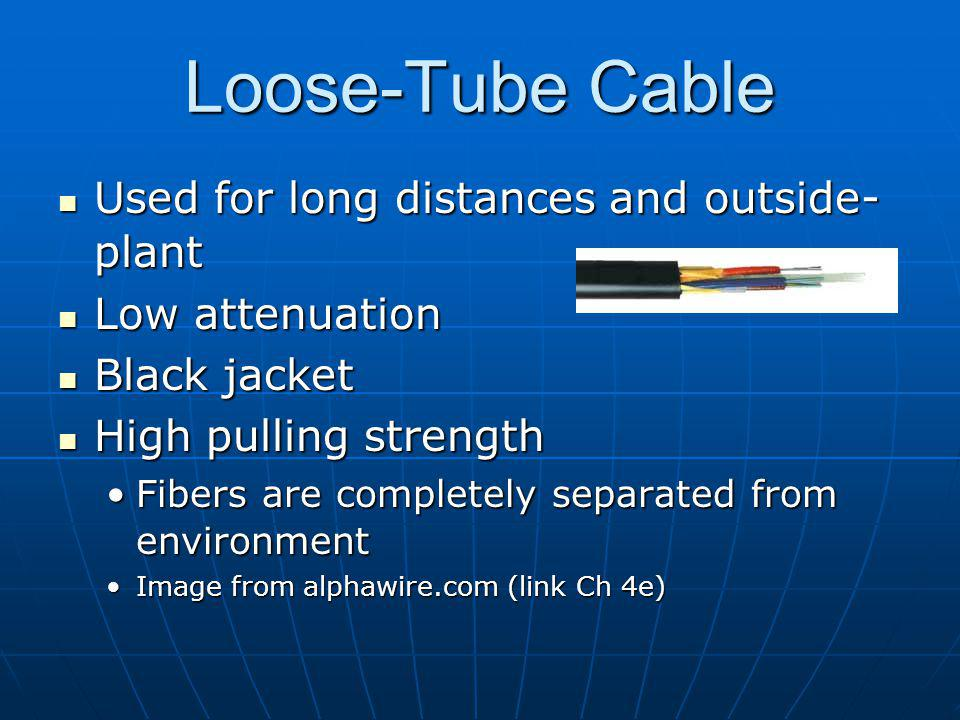 Loose-Tube Cable Used for long distances and outside- plant Used for long distances and outside- plant Low attenuation Low attenuation Black jacket Black jacket High pulling strength High pulling strength Fibers are completely separated from environmentFibers are completely separated from environment Image from alphawire.com (link Ch 4e)Image from alphawire.com (link Ch 4e)