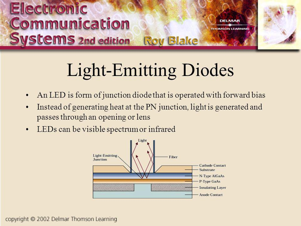 Light-Emitting Diodes An LED is form of junction diode that is operated with forward bias Instead of generating heat at the PN junction, light is generated and passes through an opening or lens LEDs can be visible spectrum or infrared