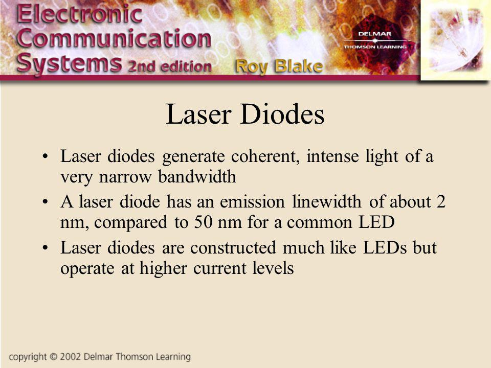 Laser Diodes Laser diodes generate coherent, intense light of a very narrow bandwidth A laser diode has an emission linewidth of about 2 nm, compared to 50 nm for a common LED Laser diodes are constructed much like LEDs but operate at higher current levels