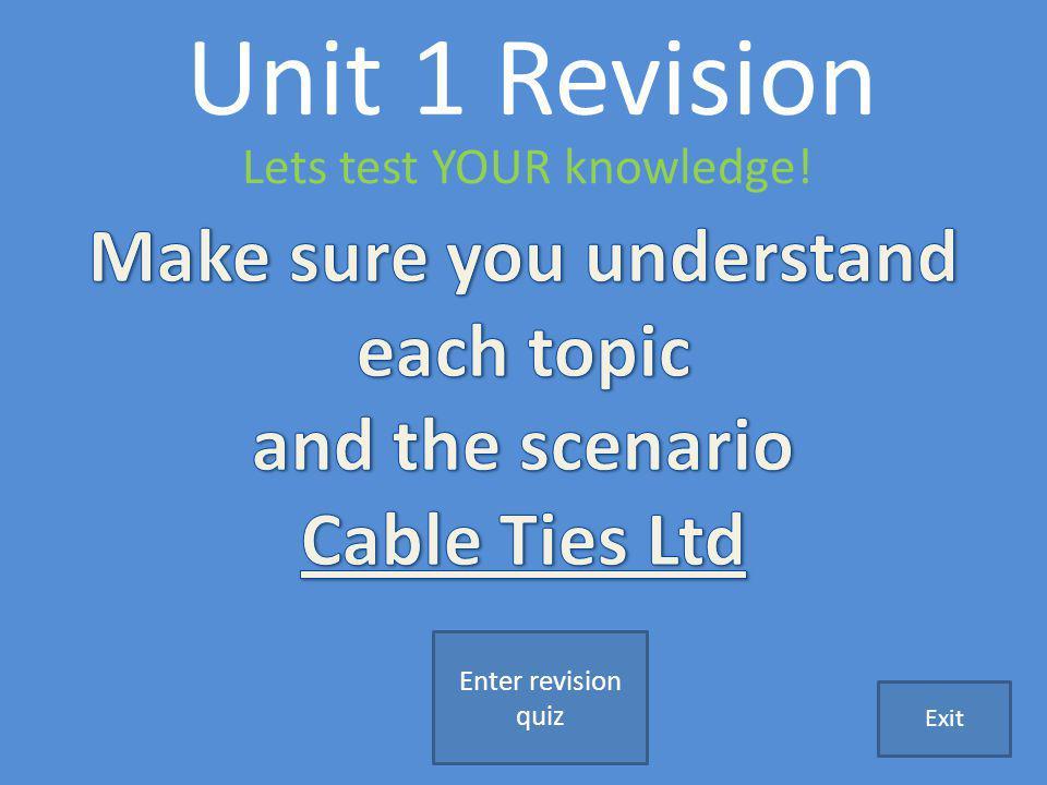 Unit 1 Revision Lets test YOUR knowledge! Enter revision quiz Exit
