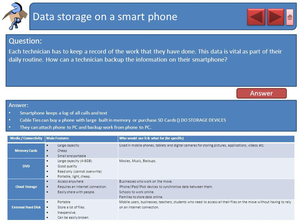 Data storage on a smart phone Question: Each technician has to keep a record of the work that they have done. This data is vital as part of their dail