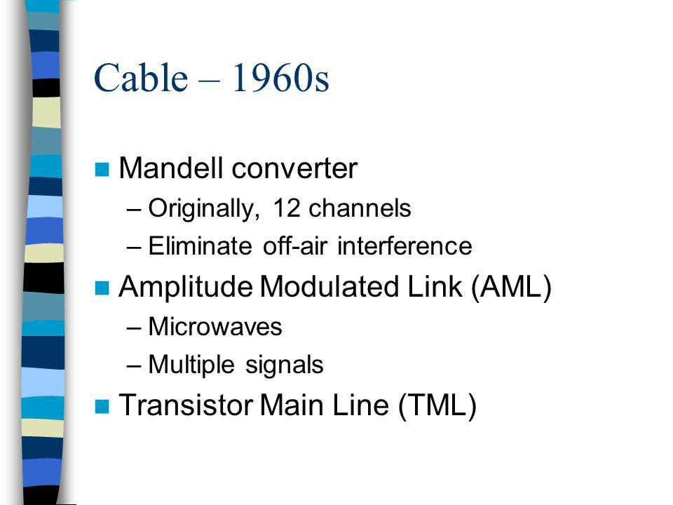 Cable – 1970s Starline One, first modern transistor amplifier Satellites are born FCC interest