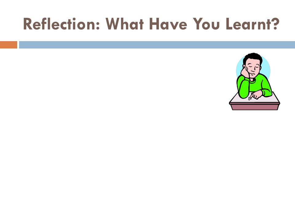 Reflection: What Have You Learnt?