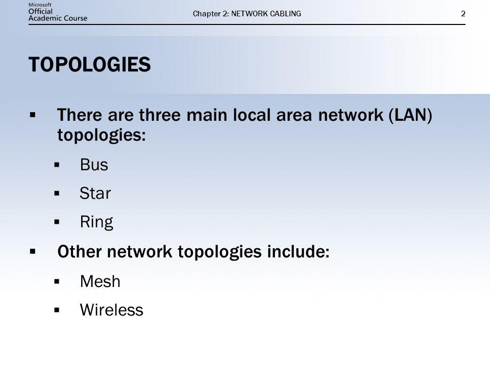 Chapter 2: NETWORK CABLING2 TOPOLOGIES There are three main local area network (LAN) topologies: Bus Star Ring Other network topologies include: Mesh
