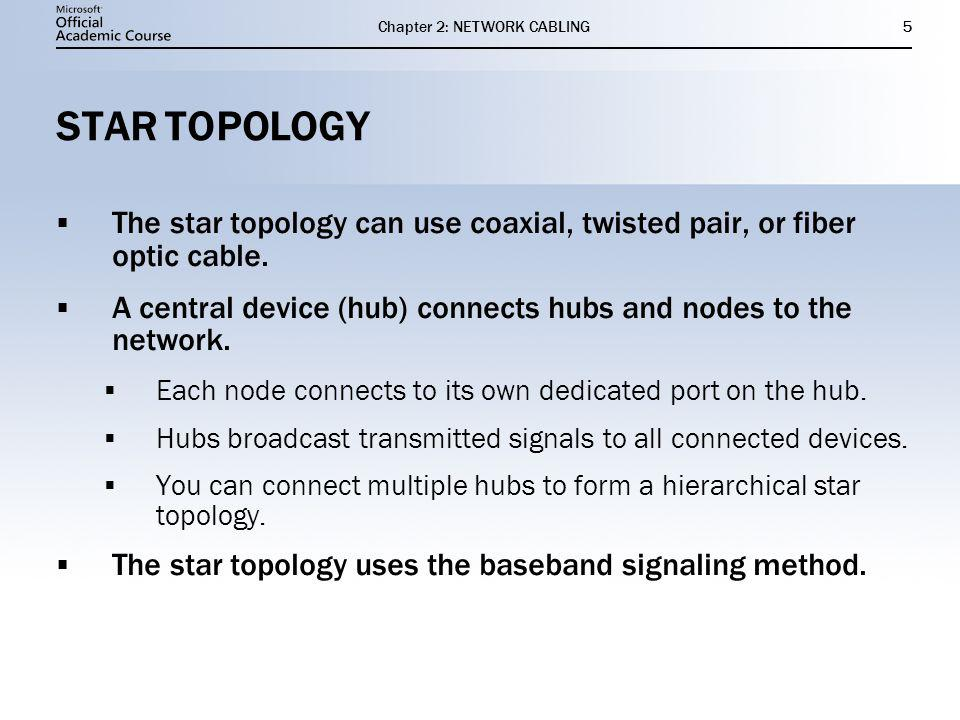 Chapter 2: NETWORK CABLING5 STAR TOPOLOGY The star topology can use coaxial, twisted pair, or fiber optic cable.