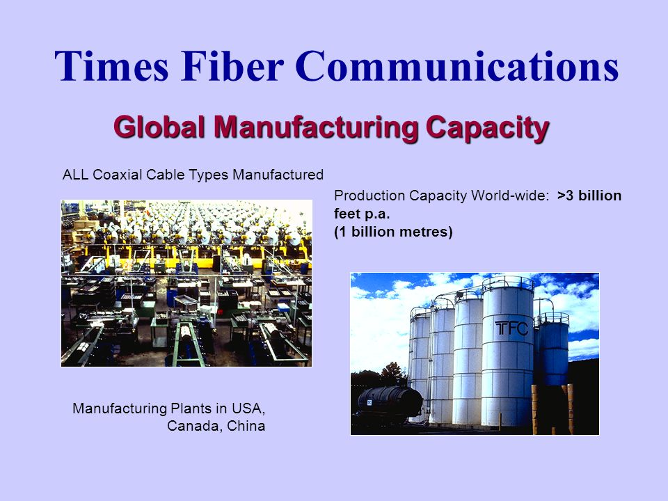 Times Fiber Communications Global Manufacturing Capacity ALL Coaxial Cable Types Manufactured Production Capacity World-wide: >3 billion feet p.a.
